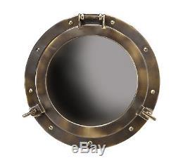 Large Ships Cabin Porthole Mirror 20 Aluminum Bronze Finish Nautical Wall Decor