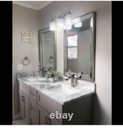 Large Silver Brushed Glam Finish Modern Wall Mirror Bathroom Vanity Bevel Decor