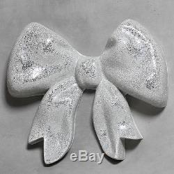 Large Silver Crackle Mirror Mosaic Ribbon Bow Wall Hanging 70 x 80 cm x 16 cm