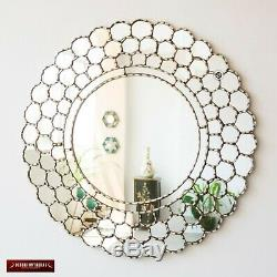 Large Silver Round Wall Mirror 31.5 from Peru, Silver leaf wood framed mirror