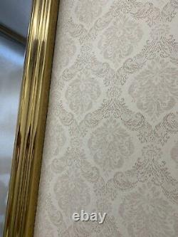 Large Solid Brass Frame Wall Hanging Beveled Mirror