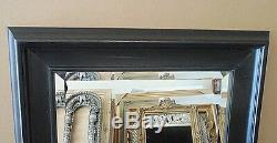 Large Solid Wood 29x33 Rectangle Beveled Framed Wall Mirror