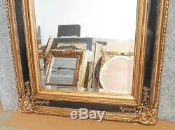 Large Solid Wood 30x34 Rectangle Beveled Framed Wall Mirror
