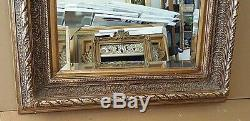 Large Solid Wood 31x35 Rectangle Beveled Framed Wall Mirror