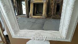 Large Solid Wood 33x37 Rectangle Beveled Framed Wall Mirror