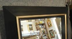 Large Solid Wood 35x47 Rectangle Beveled Framed Wall Mirror