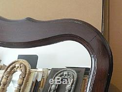 Large Solid Wood 40x51 Arched/Rectangle Beveled Framed Wall Mirror