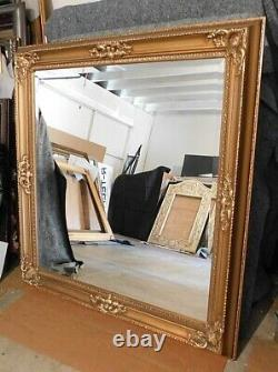 Large Solid Wood Gold 53x55 Rectangle Beveled Framed Wall Mirror