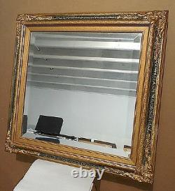Large Solid Wood Green/Gold 27x27 Rectangle Beveled Framed Wall Mirror