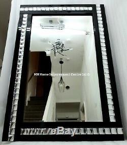 Large Sparkly Black Wall Mirror Silver Crystal Border 120X80cm Decorative