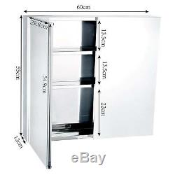 Large Stainless Steel Wall Mounted Bathroom Mirror Storage Cabinet Double Doors