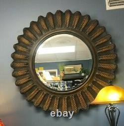 Large Sunburst Round Wall Mirror Beveled Glass and Metal Sunflower 40x40