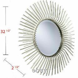 Large Sunburst Wall Accent Mirror Round Metal Mid-Century Glam Chic Home Decor