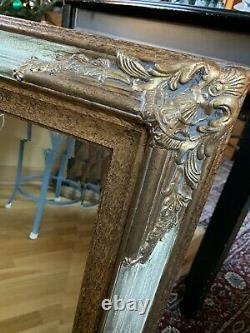 Large The Bombay Company 28 X 33 Ornate Gold Beveled Hanging Wall Mirror