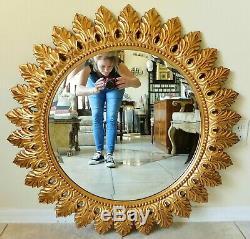 Large The Bombay Company 36 Ornate Gold Sunburst Beveled Hanging Wall Mirror