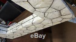 Large Unique Wall Mirror White Glass Shell Mosaic African Moroccan 117x77cm