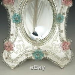 Large Venetian Art Glass Beveled Mirror Vanity Table Wall, Pink & Blue Flowers