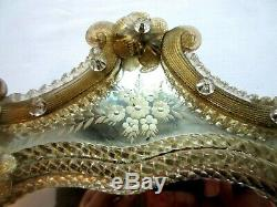 Large Venetian Art Glass Beveled Mirror Vanity Table Wall, amber Flowers