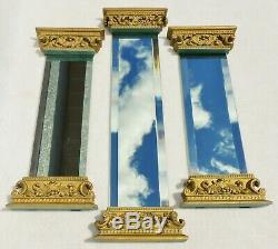 Large Vintage 20 3pc Set Ornate Gold Gilt Beveled Column Hanging Wall Mirrors