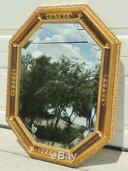 Large Vintage 34 Ornate Red & Gold Gilt Octagon Beveled Hanging Wall Mirror