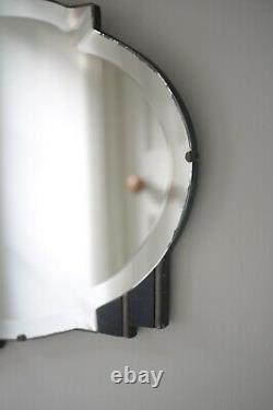 Large Vintage Art Deco Frameless Bevel Black Fan Motif Wall Mirror 1930s