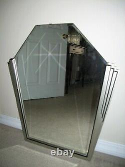 Large Vintage Art Deco Silver & Black Wall Mirror