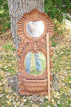 Large Vintage Chapman Spain Gilded Carved Wood Mirror Shell Wall Pocket Planter