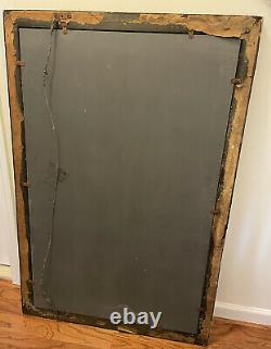 Large Vintage Copper Plated Mirror with Embosed Glass Mirrored Frame 1958