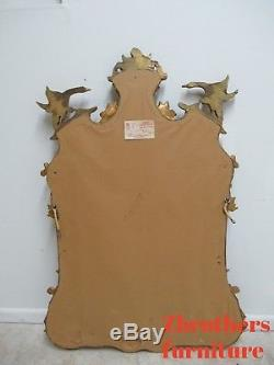 Large Vintage Decorative Arts Gold Gilt Swan Hanging Wall Miror French Regency