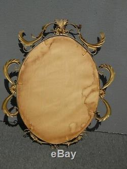Large Vintage French Provincial Gold Metal Tole Wall Mantle Mirror Made in Italy