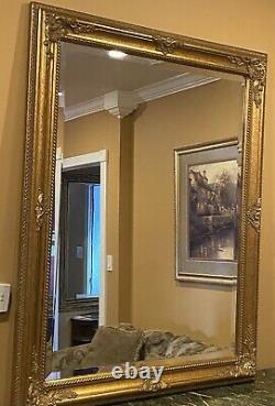 Large Vintage Gold Gilt Frame Wall Hanging Mirror 47 X 37