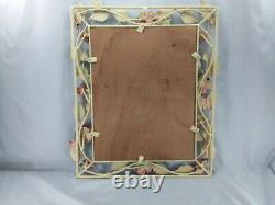 Large Vintage Italian Tole Wall Mirror 23 X 19 Exc Cond Shabby Chic Red Roses