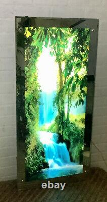 Large Vintage Light Up Waterfall Motion & Sound Picture Mirror Wall Art 39X19