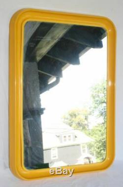 Large Vintage Mid Century Modern Yellow Plastic Wall Hanging Mirror