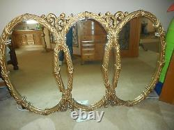 Large Vintage Mid Century Tri-Oval Wall Mirror 65''x 43x 2 Hollywood Regency
