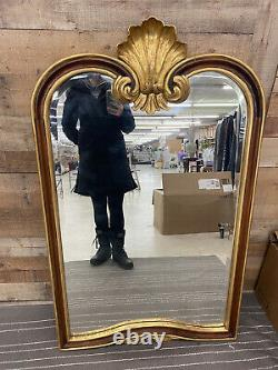 Large Vintage Ornate French Style Gold Leafed And Shell Wooden Wall Mirror