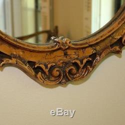 Large Vintage Ornate Hard Resin Framed Wall Mirror