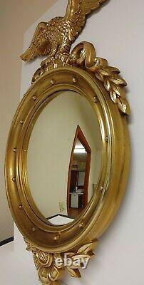 Large Vintage Syroco 4010 Federal Eagle Convex Wall Hanging Mirror 28