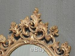 Large Vintage Syroco Ornate Scrolled Gold Wall Mantle Mirror