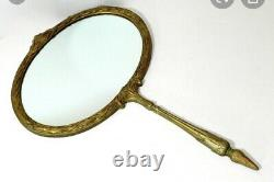 Large WALL Mirror Victorian Ornate Homco Burwood GOLD Hand Mirror
