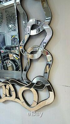 Large Wall Mirror 3D Multi-facet Design Art Deco Glass 140x100cm Rectangular