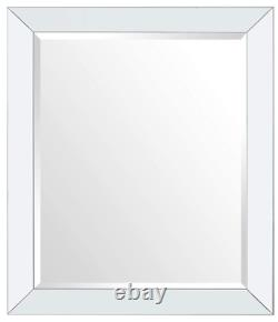 Large Wall Mirror Bathroom Vanity Lounge Silver Rectangle Mirrored Frame New