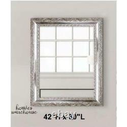 Large Wall Mirror Decor Accent Hanging Vantity Antique Silver Ornate Bevel Frame