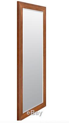 Large Wall Mirror Floor Leaning Standing Full Length Frame Beveled Glass Walnut