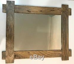 Large Wall Mirror Natural Look Woode Wall Hanging Home Decor Sculpture Big 90 CM