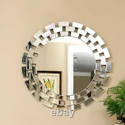 Large Wall Mirror Ornate Glass Framed Venetian Decor (31.5X 31.5 Circle) NEW