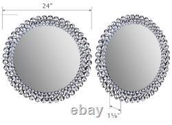 Large Wall Mirror Round Bathroom Vanity Art Deco Silver Jewel Beads Beveled New
