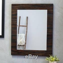 Large Wall Mirror Solid Wood Slats Rustic Brown Barn Farmhouse Accent Home Decor
