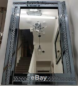 Large Wall Mirror Sparkly Floating Crystal Smoked Silver Grey Blue 120x80cm