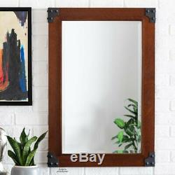 Large Wall Mirror Wood Industrial Metal Edges Rustic Farmhouse Accent Home Decor